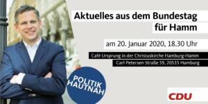 """""""Politik Hautnah - Aktuelles aus dem Bundestag für Hamm"""" @ Cafe URSPRUNG, Christuskirche Hamburg-Hamm"""