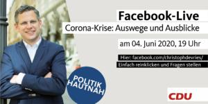 """Politik Hautnah"" - Corona-Krise: Auswege und Ausblicke @ FACEBOOK-LIVE"